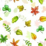 Modèle sans couture avec les feuilles colorées en baisse Photos libres de droits