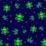 Modèle sans couture avec les feuilles et les flocons de neige colorés de marijuana avec les crânes humains Photographie stock libre de droits