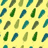 Mod?le sans couture avec les feuilles et les usines tropicales color?es illustration de vecteur