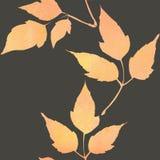 Mod?le sans couture avec les feuilles oranges d'aquarelle illustration libre de droits