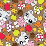 Modèle sans couture avec les filles de raton laveur, la pomme, le champignon, et les feuilles mignons d'érable Images libres de droits