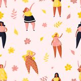 Modèle sans couture avec les filles et les fleurs plus de taille image stock