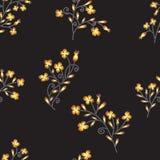 Modèle sans couture avec les fleurs abstraites lumineuses tirées par la main Images stock