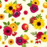 Modèle sans couture avec les fleurs colorées d'automne Illustration de vecteur Image stock