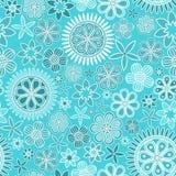 Modèle sans couture avec les fleurs complexes sur le fond bleu-clair illustration stock