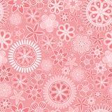 Modèle sans couture avec les fleurs complexes sur le fond rose illustration libre de droits