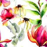 Modèle sans couture avec les fleurs décoratives d'été Image stock