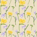 Modèle sans couture avec les fleurs et les bourgeons colorés de freesia Texture d'impression de tissu sur le fond beige Illustrat Illustration de Vecteur