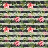 Modèle sans couture avec les fleurs et les feuilles tropicales d'aquarelle dessus Photos stock