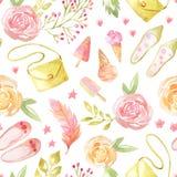 Modèle sans couture avec les fleurs et les feuilles roses illustration libre de droits