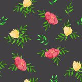 Modèle sans couture avec les fleurs jaunes et roses illustration de vecteur