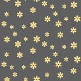 Modèle sans couture avec les fleurs jaunes sur le fond gris illustration stock