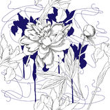 Modèle sans couture avec les fleurs noires et blanches Photos stock