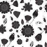 Modèle sans couture avec les fleurs noires sur un fond blanc Photo libre de droits
