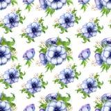 Modèle sans couture avec les fleurs pourpres blanches d'anémone d'aquarelle Conception florale de ressort pour épouser l'invitati illustration de vecteur