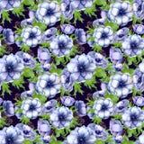 Modèle sans couture avec les fleurs pourpres blanches d'anémone d'aquarelle Conception florale de ressort pour épouser l'invitati illustration libre de droits