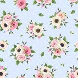 Modèle sans couture avec les fleurs roses et blanches sur le bleu Illustration de vecteur Images stock