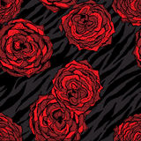 Modèle sans couture avec les fleurs rouges sur l'animal Photo stock