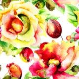 Modèle sans couture avec les fleurs stylisées Images libres de droits