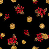 Modèle sans couture avec les fleurs tirées par la main et les points d'or de scintillement Images stock
