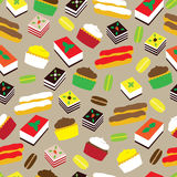 Modèle sans couture avec les gâteaux doux Image libre de droits