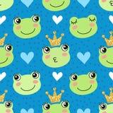 Modèle sans couture avec les grenouilles et les couronnes mignonnes illustration stock