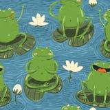Modèle sans couture avec les grenouilles mignonnes de main-aspiration et watterlilly illustration stock