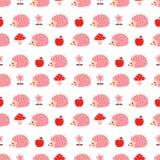 Modèle sans couture avec les hérissons roses illustration de vecteur