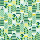 Modèle sans couture avec les herbes et les fleurs sauvages dans le style plat illustration libre de droits