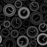 Modèle sans couture avec les horloges blanches sur le fond noir illustration stock
