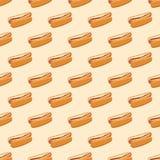 Modèle sans couture avec les hot-dogs Photographie stock