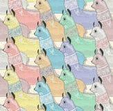Modèle sans couture avec les lamas ou les alpaga mignons Image libre de droits