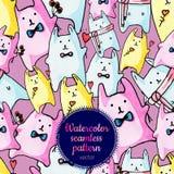 Modèle sans couture avec les lapins drôles peints à la main Images libres de droits