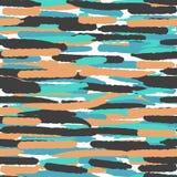 Modèle sans couture avec les lignes tirées par la main dans des couleurs bleues, noires et oranges de vintage Fond lumineux pour  Photos libres de droits