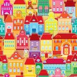 Modèle sans couture avec les maisons colorées décoratives Images libres de droits