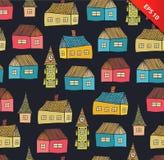 Modèle sans couture avec les maisons décoratives Fond coloré de ville pour la copie, textile, papiers peints, métiers illustration de vecteur