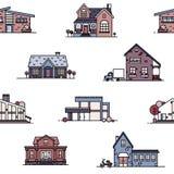 Modèle sans couture avec les maisons suburbaines sur le fond blanc Contexte avec la vie ou les bâtiments résidentiels de divers Photographie stock libre de droits