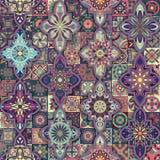 Modèle sans couture avec les mandalas décoratifs Éléments de mandala de vintage Photos stock