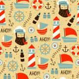 Modèle sans couture avec les marins, la roue, le bateau, et les différents éléments illustration de vecteur