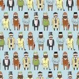 Modèle sans couture avec les messieurs barbus mignons Photos libres de droits