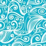 Modèle sans couture avec les modèles de vague blancs sur un fond bleu Tiré par la main Images stock