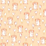 Modèle sans couture avec les monstres hirsute drôles oranges en pastel et les ballons jaunes, oranges et roses sur un fond orange illustration de vecteur