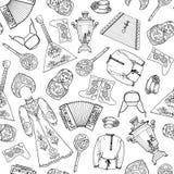 Modèle sans couture avec les motifs russes illustration de vecteur