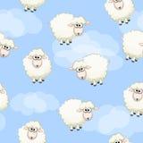Modèle sans couture avec les moutons blancs de troupeau drôle mignon sur le ciel illustration de vecteur
