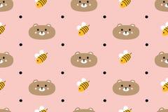 Modèle sans couture avec les ours et les abeilles mignons Image stock