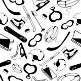 Modèle sans couture avec les outils noirs et blancs des sports et des jeux d'hiver Photographie stock