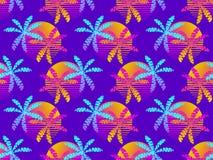 Modèle sans couture avec les palmiers et le soleil, gradient coloré dans le style des années 80 R?tro fond d'?t? Vecteur illustration libre de droits