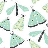 Modèle sans couture avec les papillons décoratifs, mite illustration de vecteur