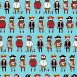 Modèle sans couture avec les pirates barbus de curte différent illustration libre de droits