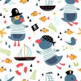 Mod?le sans couture avec les pirates mignons de pingouins illustration stock